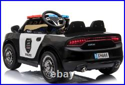 12V Electric Kid Ride On Police Car 2.4G RC Siren Opening Side Door Twin Motor