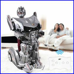 Electric Robot Ride Car Kid Child Toy Silver Transforming Remote Controlled LED