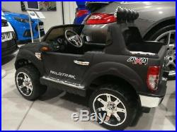 Ford Ranger Kids Ride On Car Painted Matt Black 12 Volt With Leather Seat