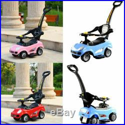 Kids Children 3in1 Musical Ride on Car Walker Push Along Toy with Parent Handle