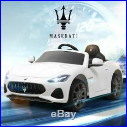 Maserati Licensed White Ride On 12V Electric Car 3 Speed Remote Control for Kids
