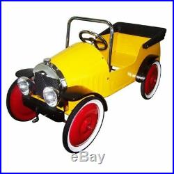 New Kids Yellow Retro Vintage Style Ride On Metal Toy Classic Steel Pedal Car