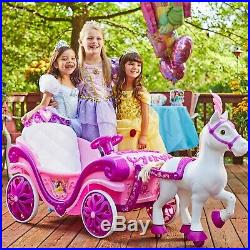 Ride-On Toy Girls Kids Car Electric Disney Princess Royal Horse and Carriage 6V
