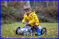Silver ride on vintage toy metal child's push along car, a kids modern classic