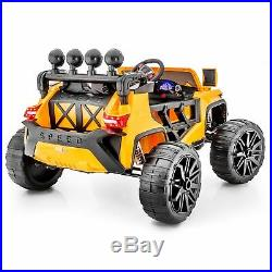 Yellow WideTrack Kid's Ride On Electric Toy Car, Remote Control MP3 Player